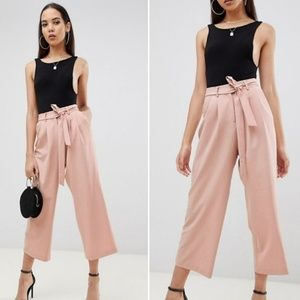 Asos Tailored Culotte Pant Pink Crepe Belted 10P